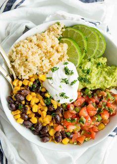 Chipotle Veggie Bowl, Chipotle Burrito Bowl, Vegan Burrito Bowls, Vegan Dinner Recipes, Vegan Dinners, Vegetarian Recipes, Healthy Recipes, Healthy Meals, Diet Meals