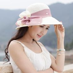 Bow flowers straw hat UV protection sun hats for women Sun Hats For Women, Canvas Bags, Fascinator Hats, Bows, Womens Fashion, Flowers, Cotton, Unique, Ideas