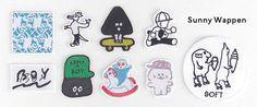 「Sunny Wappen series」各1,080円(税込)人気イラストレーターら9名と一緒につくったサニーオリジナルワッペン。アイロンワッペンなのでバッグやTシャツなどにつけておでかけしてください。<SUNNY BOY BOOKS>