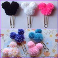 Cute Mouse Ears Pom Pom Planner Paperclips by CassafrassHandmade on Etsy Ohio Home State Vinyl Decal *Please measure the area you want to put the decal before ordering. Cute Crafts, Yarn Crafts, Crafts To Sell, Diy And Crafts, Arts And Crafts, Etsy Crafts, Disney Diy, Disney Crafts, Pom Pom Crafts