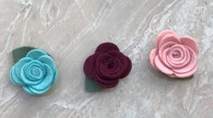 Woll Felt Flower Set (3) by ThePoshMoppet on Etsy https://www.etsy.com/listing/468381346/woll-felt-flower-set-3