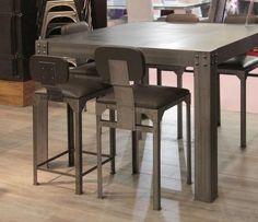 Table Corniere 100 - Tables-de-style-industriel,-pieds-en-acier - Ghislain