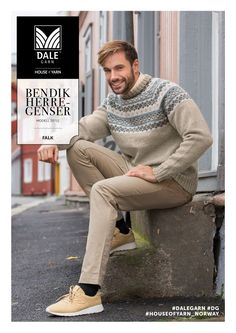 This handsome men& pullover has enough detail to make it a fun knit, but not too much as to make it daunting. Country Attire, Fair Isle Pattern, Swedish Design, Baby Sweaters, Knit Patterns, Mittens, Knitwear, Men Sweater, Knitting