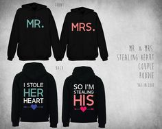 Mr. & Mrs. Stealing Heart Couple Hoodie by 365inlovedotcom on Etsy, $89.99