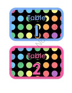 FREE Black Dots: Table Signs from Barattas on TeachersNotebook.com -  (5 pages)  - A cute way to label your tables!
