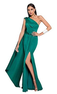 8f7a158e3383 Terani Couture OneShoulder Sash Long Dress #TeraniCouture #OneShoulder  #Sash #Long #Dress