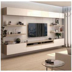 Living Room Wall Units, Living Room Tv Unit Designs, Living Room Sets, Living Room Modern, Living Room Interior, Rugs In Living Room, Ikea Tv Wall Unit, Living Room Decor With Tv, Tv Wall Unit Designs