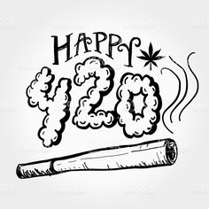 Happy 420 Marijuana Greeting design template with hand drawn elements - Royalty-free Marijuana Joint stock vector Leaf Coloring Page, Coloring Pages To Print, Art Drawings Sketches, Easy Drawings, Happy 420, Graffiti Tattoo, Trippy Painting, Marijuana Art, Weed Art