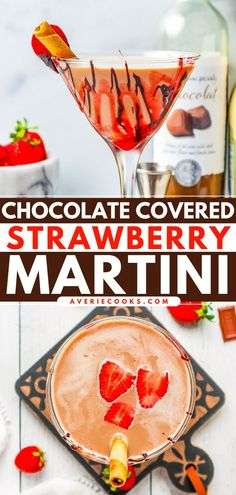 A summer cocktail recipe for special occasions! With all the flavor of chocolate-covered strawberries, no one can resist this chocolate martini. Such a fun and festive alcoholic drink! Enjoy sipping on this dessert in a glass! White Chocolate Liqueur, Chocolate Martini, Chocolate Wine, Strawberry Martini, Strawberry Slice, Cocktail Recipes, Martini Recipes, Easy Cocktails, Summer Cocktails