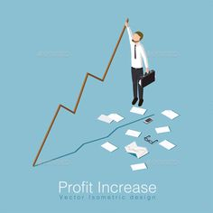 Buy Profit Increase Concept Illustration by Petrolium on GraphicRiver. Business man has unexpected a big stock profit and trying to k. Isometric Design, Paper People, App Logo, Concept, Graphic Design, Money Paper, Vectors, Studyblr, Infographics