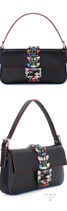 Fendi Baguette Medium Calfskin Bag w/Crystal Strap, Black Multi | LOLO❤︎