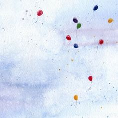 Floating Balloons Watercolor