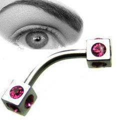 RAINBOW Eyebrow Bar Curved Barbell  Piercing Banana Ring 16g Steel Anodized DICE