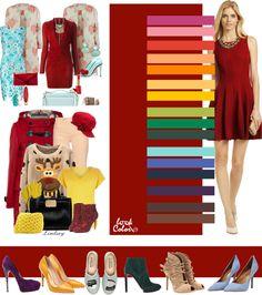 Красно-бордовый цвет. Красно-бордовый цвет наиболее из всех оттенков бордового приближен к красному: яркий и насыщенный. Его часто приписывают к рождественской гамме. Этот оттенок имеет больше всех перевес в сторону вечернего стиля, поэтому его чаще комбинируют с яркими тонами, хотя он хорошо смотрится и с нейтральными тонами.
