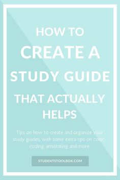 Check out how to make a study guide that actually helps. This study guide template will give you ideas on creating a DIY study guide. Also free feel to check out more blog posts on college tips for high school and college: studentstoolbox.com.
