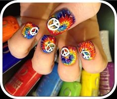 Nailed Daily: Day 85 - Peace and Tie Dye