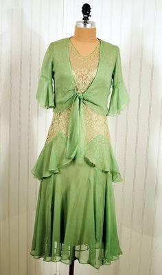 Green silk chiffon and lace dress with bolero jacket, c. 1930's.
