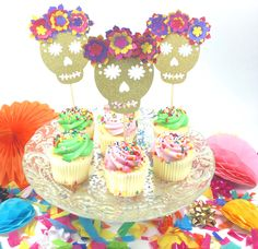 #glitter #skull #cupcake #toppers  #dayofthedead #cincodemayo #fiesta #decoration