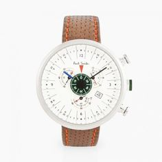 Paul Smith men's 'Cycle Eyes' is a chronograph wrist watch, with tan leather perforated strap and cream face, perfect for a casual style.