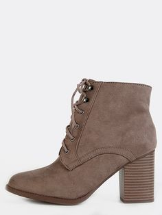 """Get a cool vibe with the Lace Up Suede Ankle Boots! Features a slightly pointed toe, faux suede upper, lace up design, and a side zipper. Finished with a 3.5"""" stacked heel. Pair with boyfriend jeans and a bomber jacket for a casual yet cool ensemble. #booties #boho #festival #MakeMeChic #MMCstyle #ootd #MMC #style #fashion #newarrivals #summer16"""
