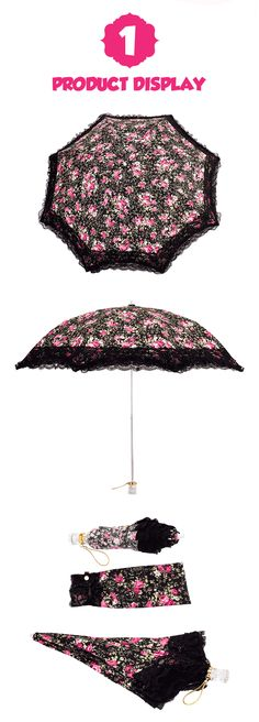 Clear PINK Girly Polka Dot Automatic Open Umbrella With Ruffles Ladies Womens