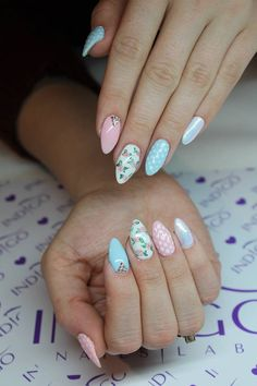 Gel Polish Little Pink and Aquarius, Mr.White + Mermaid Effect by Renata Bartosik Indigo Young Team #nails #nail #pastel #pink #babyblue #mermaid #effect #effectnails #wow