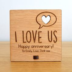 I Love Us - Personalised Wooden Anniversary Plaque - Anniversary Sign - Pretty Personalised