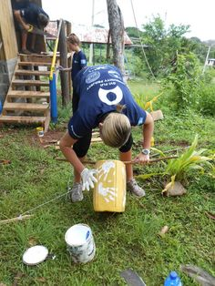 Volunteers complete school compost toilets and colourful hand washing stations in #Fiji!