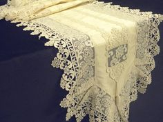 Table runner ecru Silk with guipure lace by ClassyInteriorsDeco, $513.00