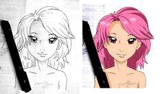 risco à nanquin e e pintura digital estilo anime