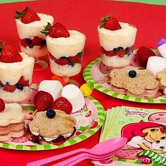 sweet and savory blossom finger sandwiches using cream cheese and fruit jam; and pink ham and swiss cheese. fruit kabobs using strawberries, marshmallows and tropical fruit picks. Parfaits made from rice pudding or tapioca layered with raspberries, blueberries and sliced strawberries.