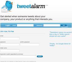 TweetAlarm  : http://www.tweetalarm.com/ Pour savoir quand un mot-clé est publié sur Twitter.