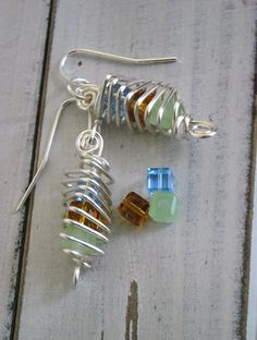 Cage Earrings Wire Wrapped Triangle Shape with Square Glass Beads