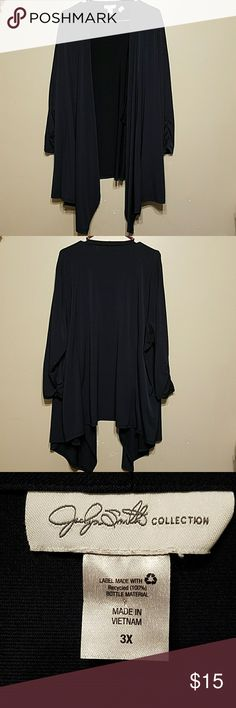Jaclyn Smith Collection lightweight cardigan Jaclyn Smith Collection fly-a-way front, ruche sleeves and deep Navy color. 95% Polyester 5% spandex Like new hardly worn. Jaclyn Smith Tops