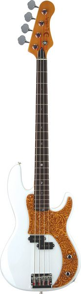 Luna Guitars also offers electric and acoustic basses. This is the PAZ 4 String Bass in white.