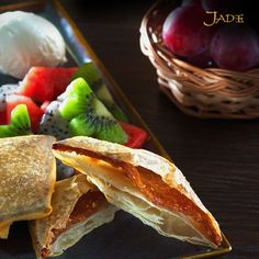 Delightfully flaky and filled to perfection, the Date Pancakes at Jade are a burst of flavor!