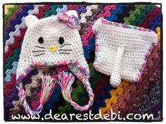 Free Newborn Hello Kitty Hat & Diaper Cover pattern by Debi Dearest