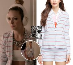 WHO: Billie Lourd as Chanel #3 WHAT: Brooks Brothers One Button Seersucker Jacket - $84 - Sale Price Listed Brooks Brothers Sailor Shorts - $34 WHERE: Scream Queens | 1x07 Beware of Young Girls WORN...