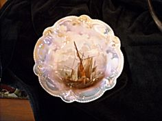 R.S. Prussia Masted Schooner Luster Bowl