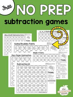 Free math games that teach subtraction strategies - subtracting 10, using doubles facts... Fun for subtraction math centers!
