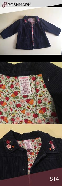 Gymboree Corduroy Jacket 🍎🍐 Gently used navy blue corduroy coat with flower accents on lapel. Inside lined with apple, pear and flower print. Size 18-24 months. Gymboree 🍎🍐🌸 EUC Gymboree Jackets & Coats