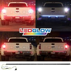 Nilight Truck Tailgate Bar Double Row LED Flexible Strip Running Turn Signal Brake Reverse Tail Light,Red/White,No-Drilling Led Tailgate Light Bar, Truck Tailgate, Led Lights For Trucks, Car Lights, Compact Trucks, White Motorcycle, Led Flexible Strip, Truck Tyres, Led Tail Lights