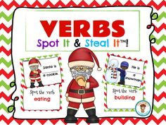 FREE! A super FUN way to teach VERBS! My Spot It & Steal It games keep all students engaged!