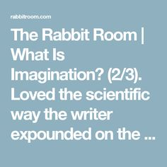 The Rabbit Room | What Is Imagination? (2/3). Loved the scientific way the writer expounded on the imagination! Very intriguing food for thought!