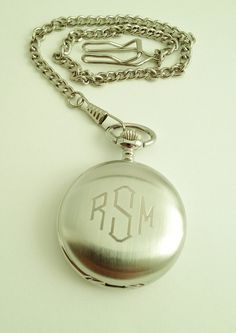 Mens Pocket Watch Engraved for Groomsmen Gift or Groom Gift. $35.00, via Etsy.