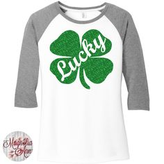 46dfe4ea Green Glitter Lucky Shamrock, St Patricks Day, Baseball Raglan 2 Tone  Sleeve Womens Tops Shirts in Sizes Plus Size by MagnoliaAnn on Etsy