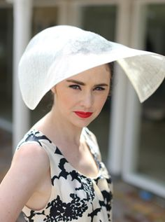 Natalie Chan Cream sinemay guipare lace couture hat. Gorgeous worn with a black and white dress for the races x