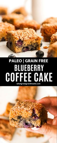 You'll love the delicious tender bites of this paleo blueberry coffee cake topped with flaky crumble topping. It's easy to make and perfect with a mug of coffee in the morning! Paleo Dessert, Gluten Free Desserts, Dairy Free Recipes, Dessert Recipes, Cake Recipes, Paleo Baking, Baking Recipes, Real Food Recipes, Paleo Food