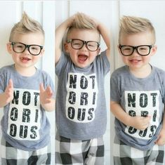 "One Boy, Three Ways - This toddler has all the personality# of a person ten times his age. If you haven't figured it out, the word on his shirt is ""Notorious"" and while we hope that it's not an accurate description of his character, we all have to agree that he is adorable, especially with those black-rimmed glasses#."