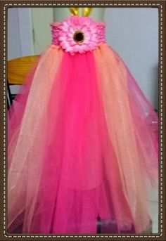 Fuchsia Pink & Peach Tutu Dress